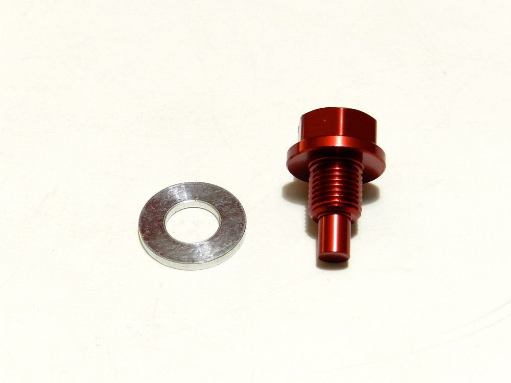 VMS MITSUBISHI MAGNETIC OIL PAN DRAIN PLUG BOLT KIT W/ CRUSH WASHER - RED