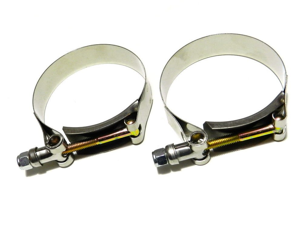 """2.5"""" UNIVERSAL STAINLESS STEEL ZINC COATED RACING T BOLT CLAMP - x2"""