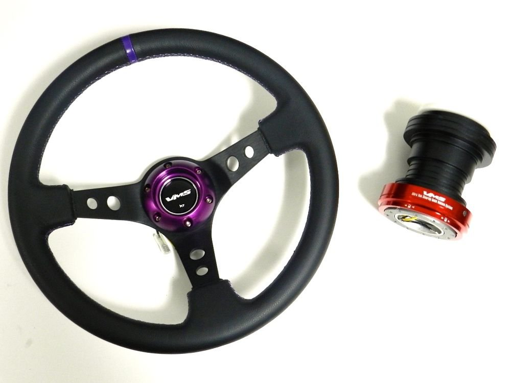 VMS PURPLE STEERING WHEEL & RED QUICK RELEASE HUB KIT FOR HONDA CIVIC EK B
