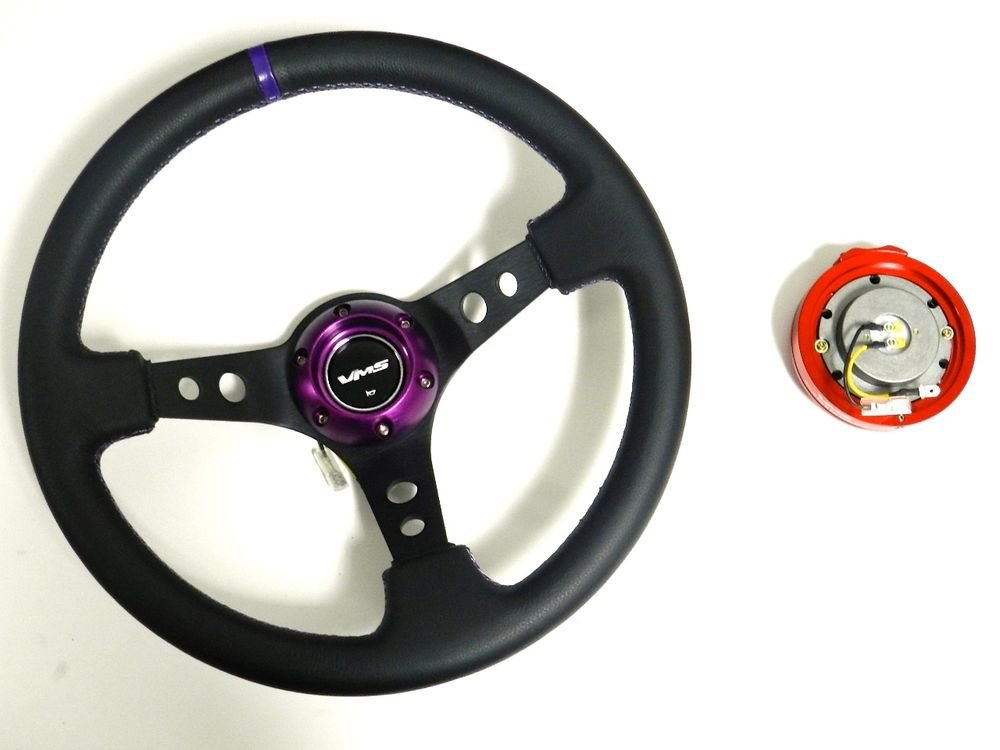 VMS RACING UNIVERSAL PURPLE STEERING WHEEL & RED QUICK RELEASE KIT 2
