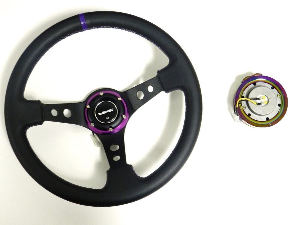 VMS RACING UNIVERSAL PURPLE STEERING WHEEL & NEO CHROME QUICK RELEASE KIT E