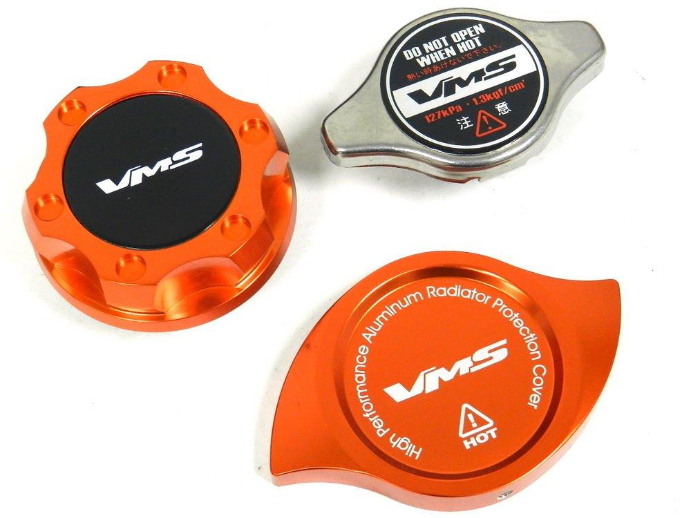 VMS RACING OIL CAP + RADIATOR CAP + BILLET COVER ORANGE NISSAN INFINITI B
