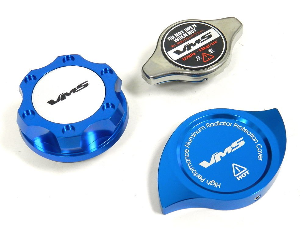 VMS RACING OIL CAP + RADIATOR CAP + BILLET COVER BLUE MITSUBISHI S