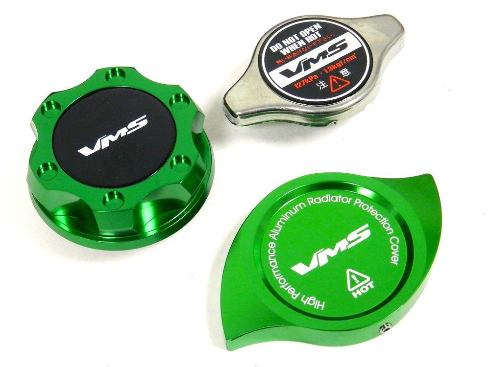 VMS RACING OIL CAP + RADIATOR CAP + BILLET COVER GREEN NISSAN INFINITI B