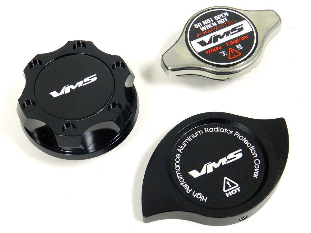 VMS RACING OIL CAP + RADIATOR CAP + BILLET COVER BLACK HONDA ACURA B