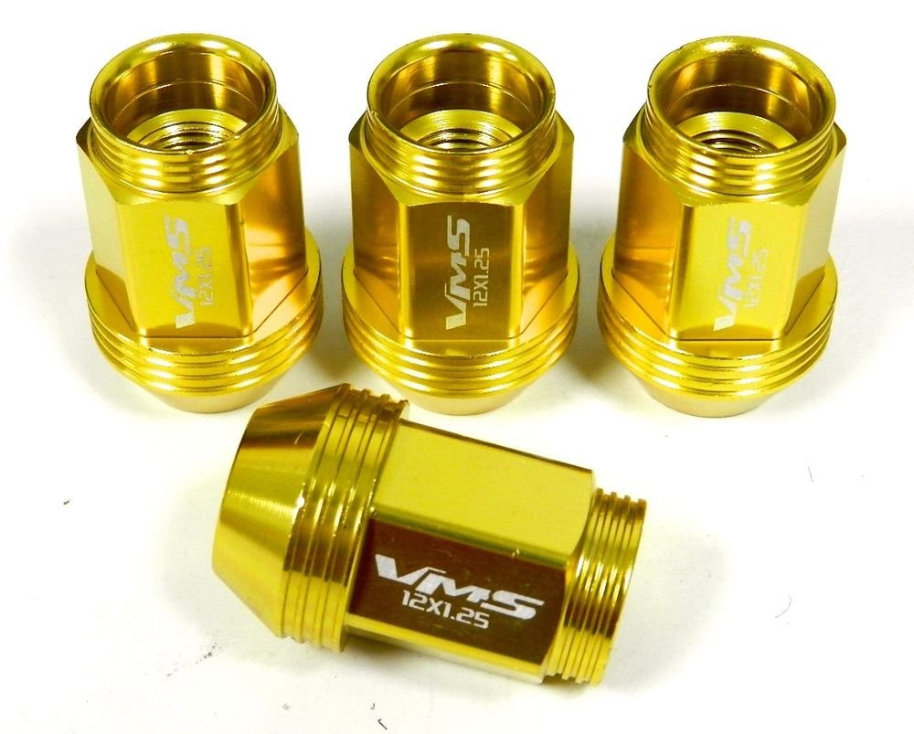 "16PC 12X1.25MM 36MM 1.40"" STANDARD LENGTH ALUMINUM RACING LUG NUT SET GOLD"