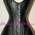 Leather Steel Corset Double Boned Heavy Waist Training Shaper Size XS-2XL