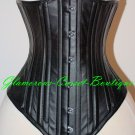 Long Corset Leather Waist Training Underbust 26 Steel Bones Heavy Shaper XS-3XL