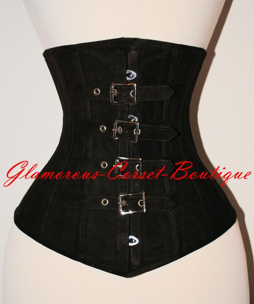Steel Leather Corset Steel Boned Nubuck Leather Waist Cincher  Buckles XXS - 3XL