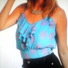 blue and hot pink top small & medium