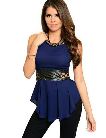navy top leather belted S M L