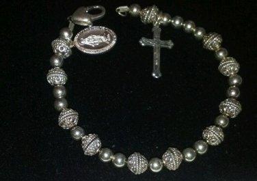 Sterling Silver handmade St. Christopher and Cross Bracelet