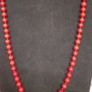 Vintage Monet Red Banded Knotted Bead 32 Inches Necklace