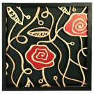 3D wooden wall picture for decoration (60*60cm) - red rose B
