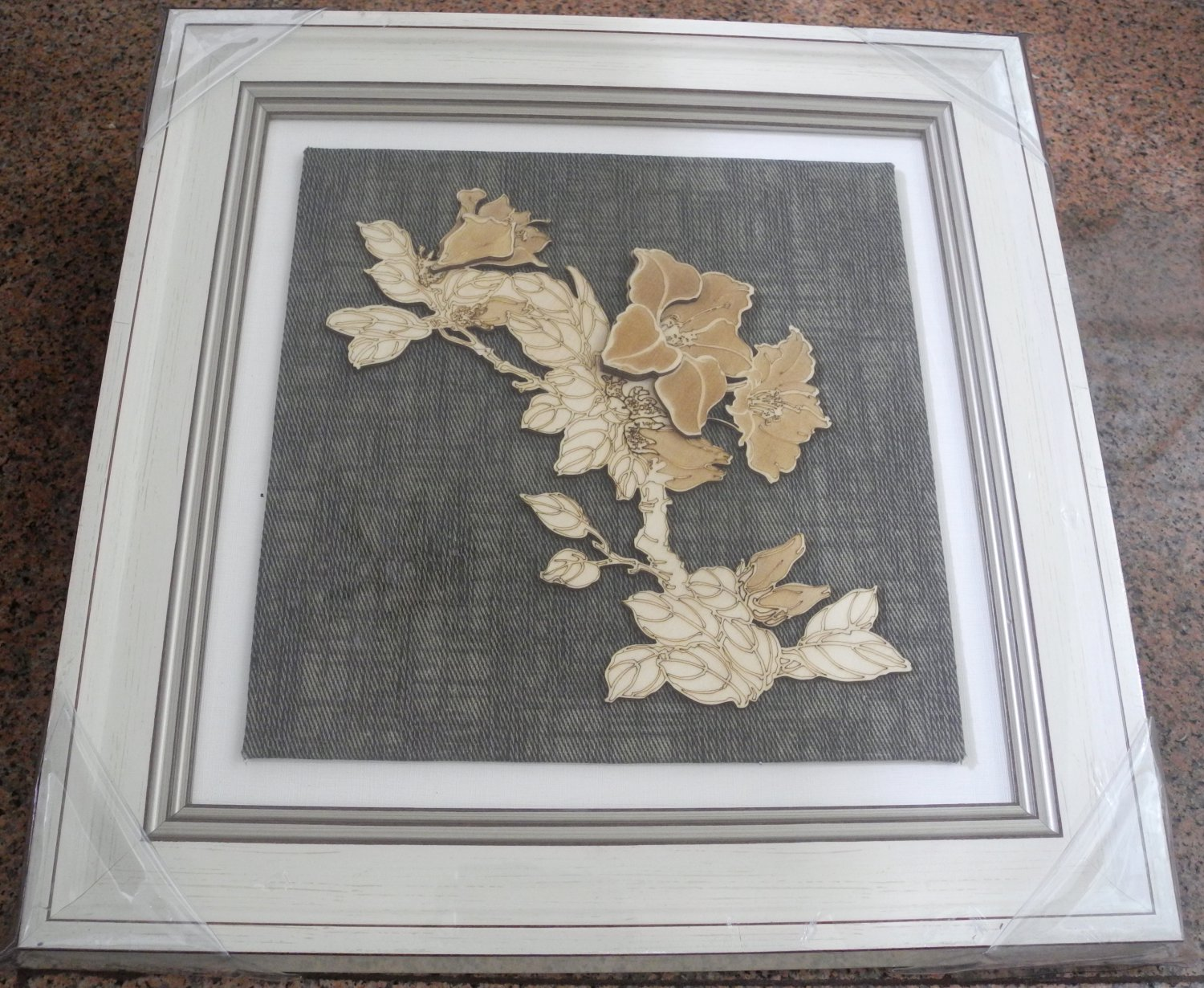 3D wooden wall picture for decoration (39*39cm) - flower D