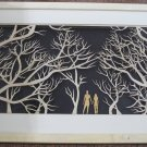3D wooden wall picture for decoration (95*55cm) - couple in forest