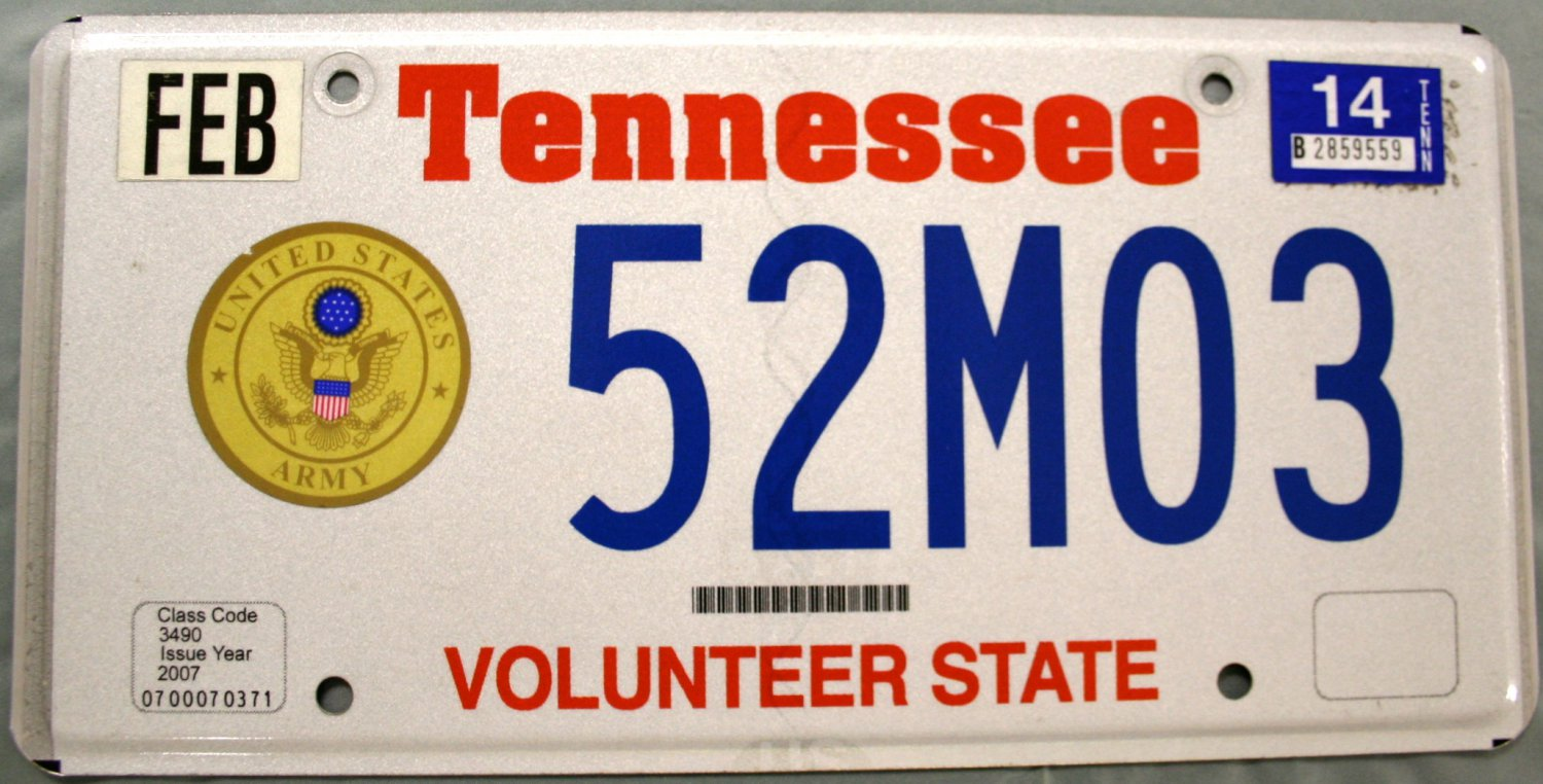 2014 Tennessee: U.S. Army License Plate \