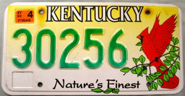 2002 Kentucky Nature's Finest Cardinal-Red Bird License Plate (30256)