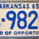 1965 Arkansas License Plate (4-9820)