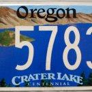2009 Oregon Crater Lake Centennial License Plate (CL 57830)