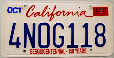 2001 California Sesquicentennial - 150 Years License Plate (4NOG118)