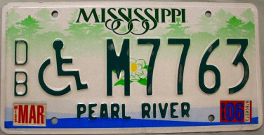 """2006 Mississippi Disabled """"Wheelchair"""" License Plate (DB M7763)"""
