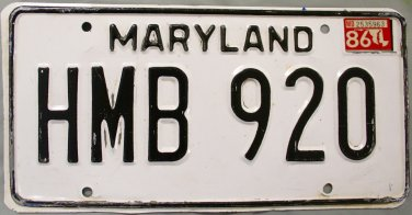 1986 Maryland License Plate (HMB 920)