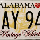 Alabama Vintage Vehicle License Plate (VAY 942)