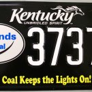 2011 Kentucky Coal Keeps the Lights On! License Plate (3737 CX)