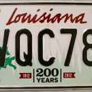2015 Louisiana License Plate (VQC782)