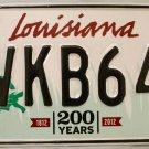 2015 Louisiana License Plate (VKB640)