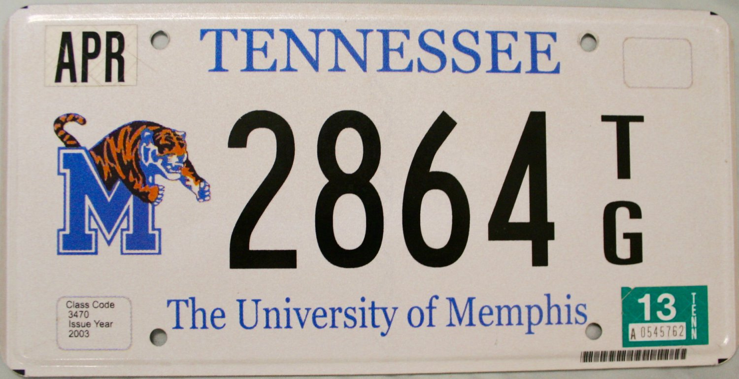 2013 Tennessee: University of Memphis License Plate (2864 TG)