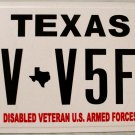 Texas Disabled Veteran U.S. Armed Forces License Plate (DV V5F5)