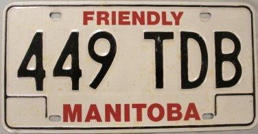 Manitoba License Plate Canada (449 TDB)