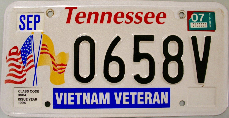2007 Tennessee Vietnam Veteran License Plate (0658V)