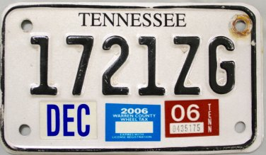 2006 Tennessee Motorcycle License Plate (1721ZG)