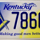 2011 Kentucky Freemason License Plate (7860CZ)