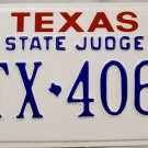 2001 Texas State Judge License Plate (TX 406)