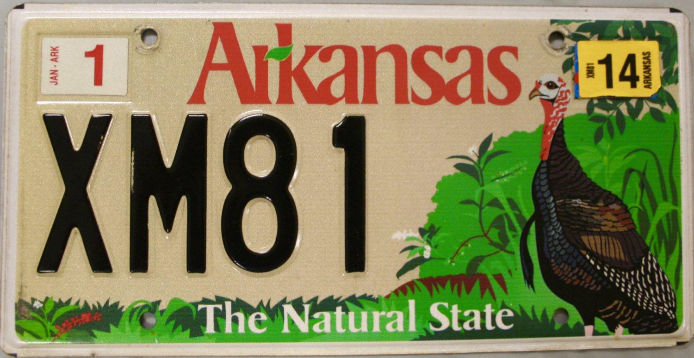 2014 arkansas game and fish wild turkey license plate xm81 for Arkansas game and fish