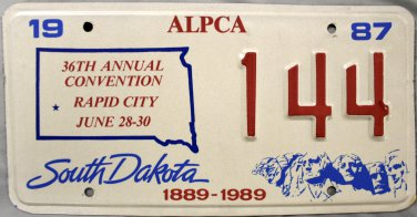 1990 Rapid City, South Dakota ALPCA 36th Annual Convention License Plate (144)