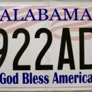 2014 Alabama God Bless America License Plate (6922AD2)