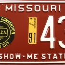 1991 Kansas City, Missouri ALPCA 37th Annual Convention License Plate (436)