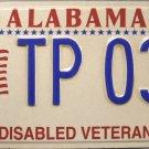 2002 Alabama Disabled Veteran License Plate (TP 039)