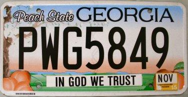 2015 Georgia In God We Trust License Plate (PWG5849)