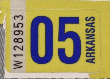 Arkansas: Passenger Plate Year Sticker (2005)