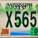 2008 Mississippi Motorcycle License Plate (MC X5657)