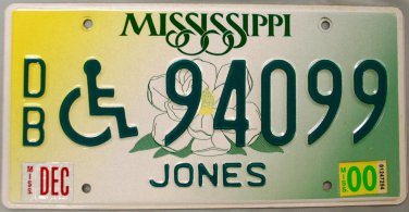 "2000 Mississippi Disabled ""Wheelchair"" License Plate (DB 94099)"