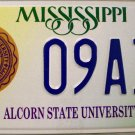 Mississippi: Alcorn State University License Plate (09A32)
