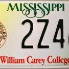 Mississippi: William Carey College License Plate (2Z468)