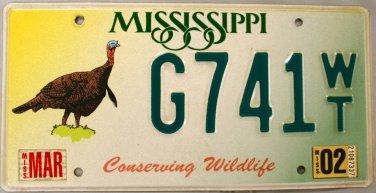 2002 Mississippi Conserving Wildlife - Turkey License Plate (G741 WT)